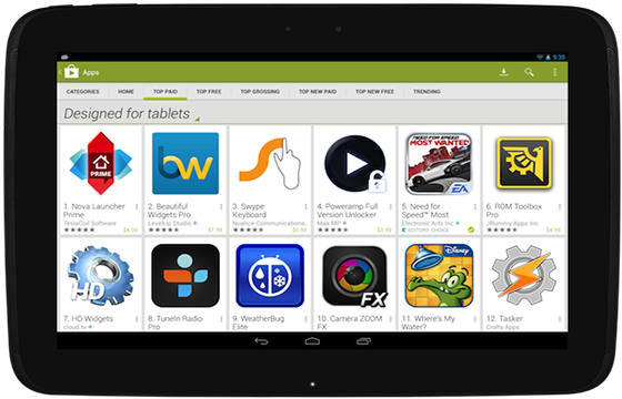 Google verhoogt vindbaarheid tablet-apps in Play Store