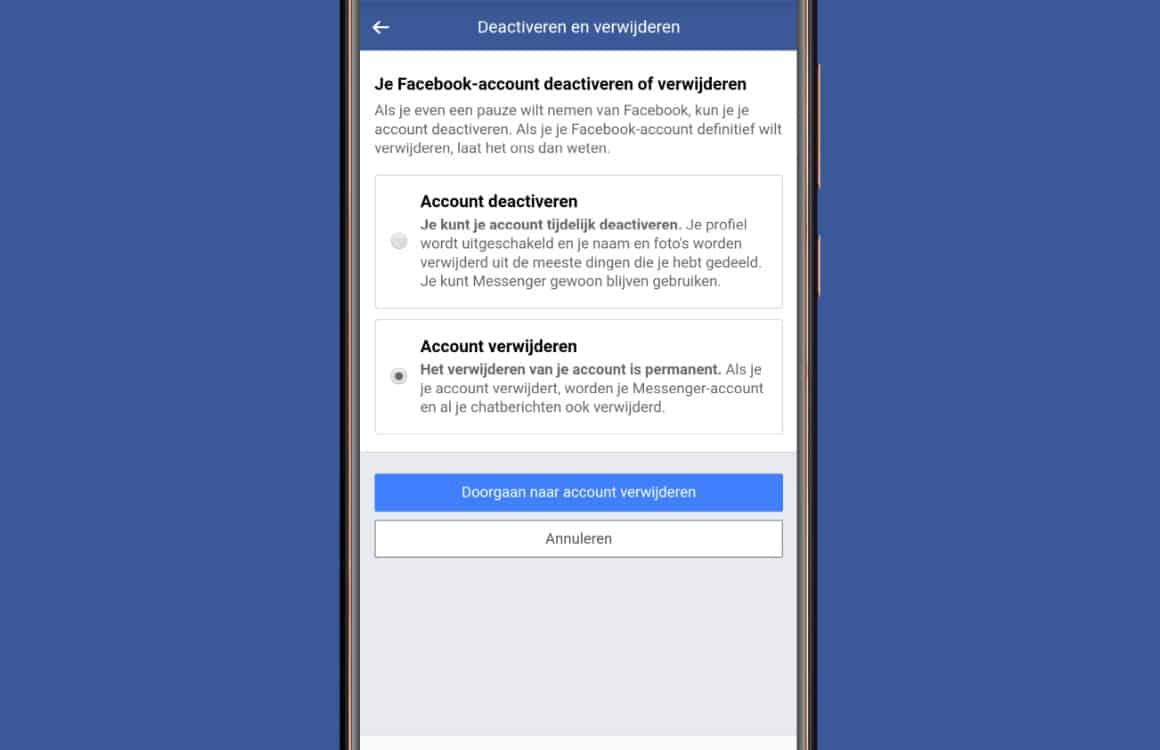 App verwijderen gegevens facebook voorbeeld